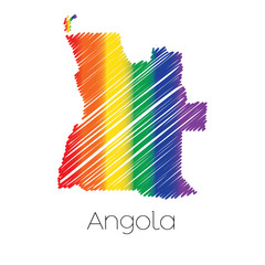 LGBT Coloured Scribbled Shape of the Country of Angola