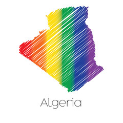 LGBT Coloured Scribbled Shape of the Country of Algeria
