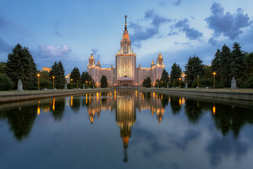 The main building of Moscow State University at night