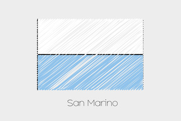 Scribbled Flag Illustration of the country of San Marino
