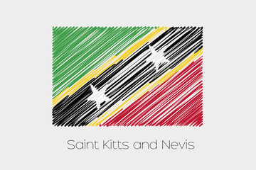 Scribbled Flag Illustration of the country of Saint Kitts and Ne
