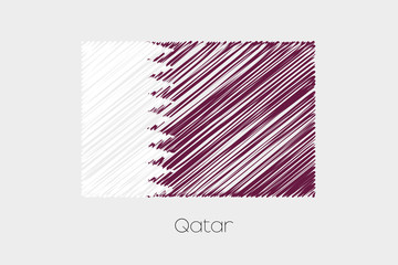 Scribbled Flag Illustration of the country of Qatar
