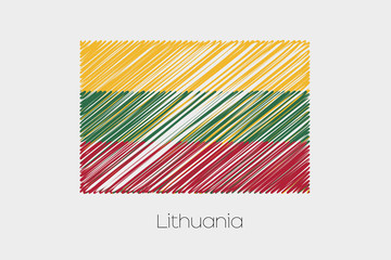 Scribbled Flag Illustration of the country of Lithuania