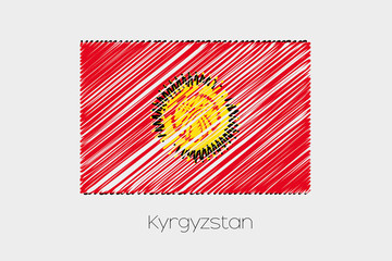 Scribbled Flag Illustration of the country of Kyrghyzstan
