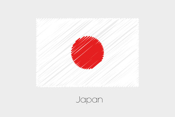 Scribbled Flag Illustration of the country of Japan