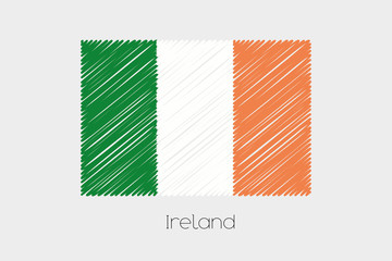 Scribbled Flag Illustration of the country of Ireland
