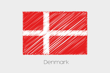 Scribbled Flag Illustration of the country of Denmark