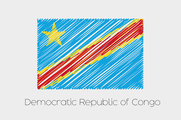 Scribbled Flag Illustration of the country of Democratic Republi