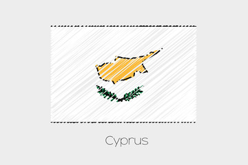 Scribbled Flag Illustration of the country of Cyprus