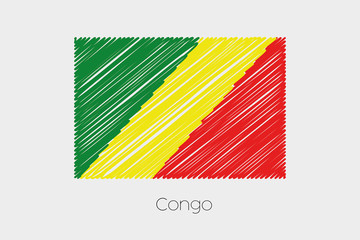 Scribbled Flag Illustration of the country of Congo