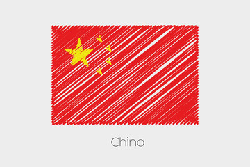 Scribbled Flag Illustration of the country of China