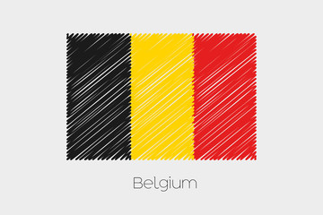 Scribbled Flag Illustration of the country of Belgium