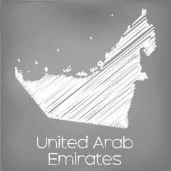 Scribbled Map of the country of United Arab Emirates