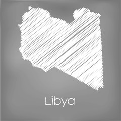 Scribbled Map of the country of Libya