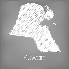 Scribbled Map of the country of Kuwait