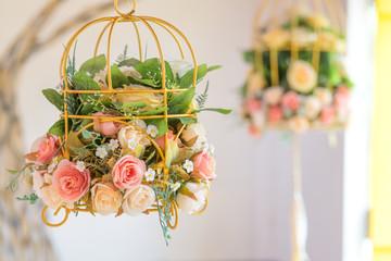 Vintage rose in hanging baskets decorative wedding
