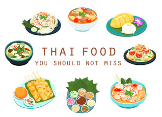 Thai food should not miss vector illustration