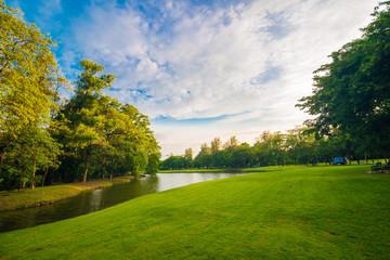 Green lawn on park field in Bangkok