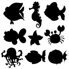 Set of aquatic animals in black