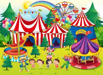 Children having fun at the circus