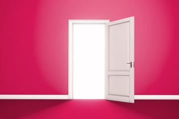 Red Open Door with Light. Interior room entrance 3D render.