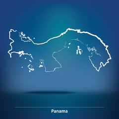 Doodle Map of Panama