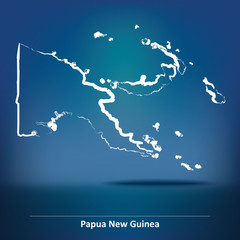 Doodle Map of Papua New Guinea