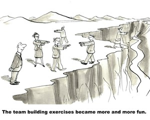 Business cartoon showing a businessman watching as businesspeople walk on the edge of a cliff blindfolded.  'The team building exercises became more and more fun'.