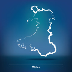 Doodle Map of Wales
