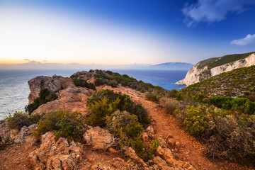 Amazing cliffs of Zakynthos Island at sunset, Greece