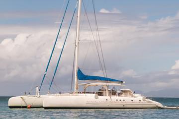 Catamaran Sailing off the Coast of tropical island a Cloudy Day