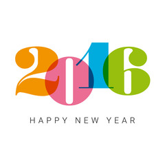 Happy new year 2016 card, numbers font, editable vector design