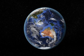 Detailed view of Earth from space, showing Australia and South East Asia. Elements of this image furnished by NASA