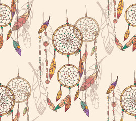 Bohemian dream catcher with beads and feathers, seamless pattern