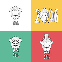 Set of vector New Year 2016 greeting cards. Hand drawn linear po