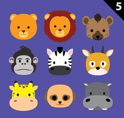 Flat Animal Faces Icon Cartoon Vector Set 5 (Safari)