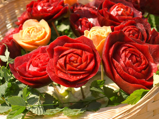 Food carving - roses from beetroot