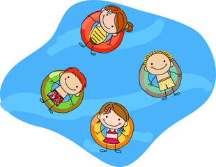 kids floating on inflatable rings