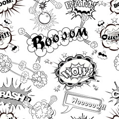 Seamless pattern comic speech bubbles sound effects, cloud explosion vector illustration