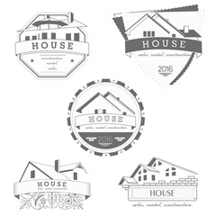 House logo gray template. Realty theme icon. Building vector silhouette.