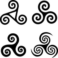 Set of black isolated triskels