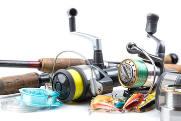 fishing tackles - rod, reel, line and lures