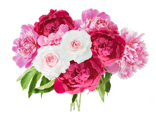 Peony and roses flowers bunch in vase isolated on white background