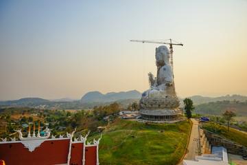 Guan Yin statue under construction, Wat huay pla kang