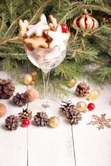 Glass of Christmas cookies