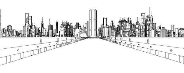 drawing of a city