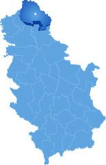 Map of Serbia, Subdivision North Banat District