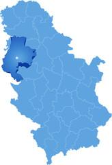 Map of Serbia, Subdivision Macva District
