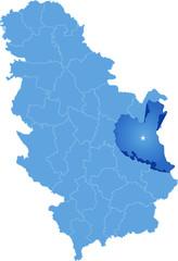 Map of Serbia, Subdivision Zajecar District