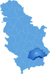Map of Serbia, Subdivision Jablanica District
